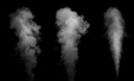 Elements of smoke flows on a black background.