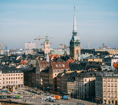 katarina: STOCKHOLM, SWEDEN - MARCH, 18, 2015: View of the Kornhamnstorg square with old buildings and churches from Katarina elevator Editorial