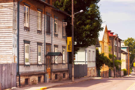Tallinn, Estonia - July 01, 2013: Typical baltic wooden houses in the center of Tallinn. Scandinavian style