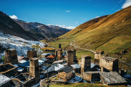 Svan Towers in Ushguli and Inguri river in autumn. One of the highest inhabited village in Europe. Caucasus, Upper Svaneti, Georgia. UNESCO World Heritage Site. View of Chajhashi and Murkmeli. Georgian landmarks Stock Photo