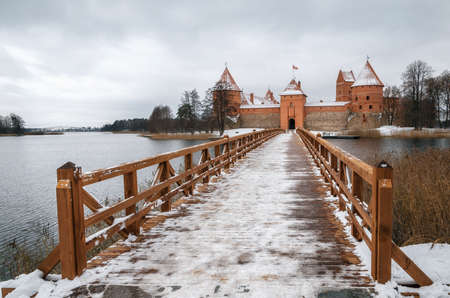 impregnable: Trakai Castle Museum on the island in winter, Trakai village, Lithuania. Lithuanian landmark