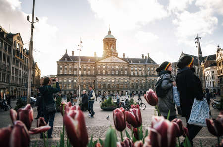 Amsterdam, Netherlands - 25 April, 2017: Royal Palace on the Dam Square on background of couple of tourist in rastaman hats and tulips in the evening. Amsterdam, Netherlands