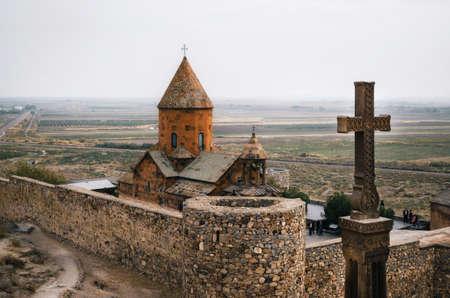 Cross is in front of Khor Virap temple, Armenia