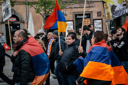 Warsaw, Poland - April 24, 2017: March of Armenian Community anniversary of Armenian Genocide of 1915 Editorial
