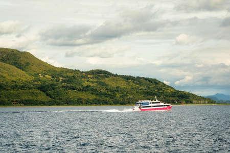 Cebu City , The Philippines - January 22, 2019: 2go ferry sails against green hills from Cebu City to Tagbilaran, Philippines. Editorial