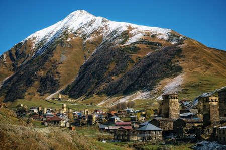 Fields and meadows with cows against Svan Towers in Ushguli and in autumn at sunny day. Caucasus, Upper Svaneti, Georgia. The Ushguli commune consists of Zhibiani, Chvibiani, Chajhashi and Murkmeli.