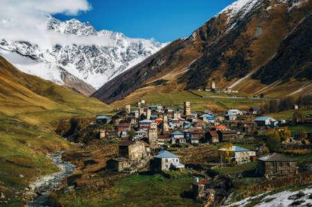 Svanetian Towers in Ushguli in autumn. One of the highest inhabited village in Europe. Caucasus, Upper Svaneti, Georgia.