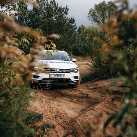 Minsk, Belarus - September 20, 2019: Volkswagen Tiguan 4x4 rides cross country in forest. Front view Editorial