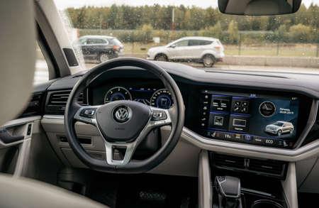 Minsk, Belarus - September 20, 2019: Volkswagen Touareg Third generation 2019 interior dashboard view Editorial