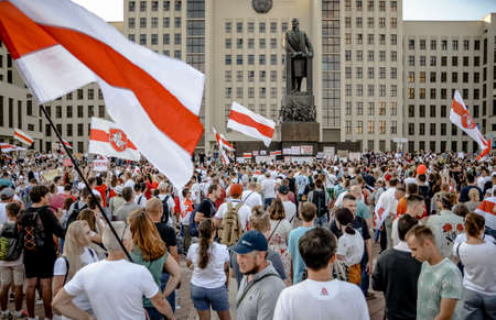 Minsk, Belarus - August 16, 2020: Belarusian people participate in peaceful protest after presidential elections in Belarus