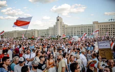 Minsk, Belarus - August 16, 2020: Belarusian people participate in peaceful protest after presidential elections in Belarus on Independence Square in Minsk, Belarus Redakční
