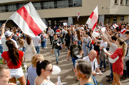Minsk, Belarus - August 18, 2020: Belarusian protesters support factory workers willing to go on strike. after presidential elections in Belarus Redakční