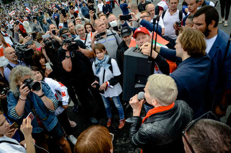 Minsk, Belarus - August 23, 2020: Maria Kolesnikova calls for peaceful protest. Belarusian people participate in peaceful protest after presidential elections in Belarus