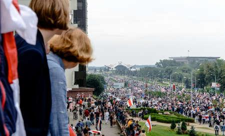 Minsk, Belarus - August 16, 2020: Belarusian people participate in peaceful protest after presidential elections in Belarus Redakční