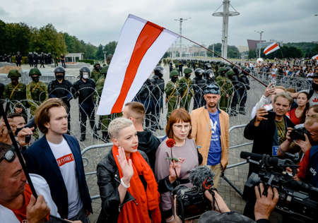 Minsk, Belarus - August 23, 2020: Maria Kalesnikava calls for peaceful protest. Belarusian people participate in peaceful protest after presidential elections in Belarus