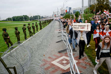 Minsk, Belarus - August 23, 2020: Belarusian people participate in peaceful protest against special police units and soldiers after presidential elections in Belarus Redakční