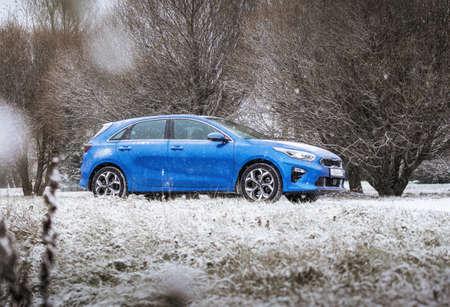 Minsk, Belarus - November 26, 2019: Kia Ceed 2018 car on snowy country road