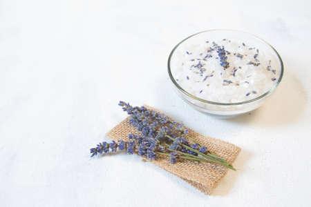 lavender bath salt on white background with lavender flower