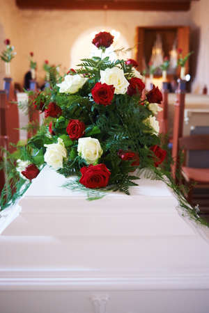 love rose: Coffin in church Stock Photo