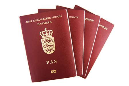Four danish passports Stock Photo