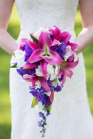 stargazer lily: Pink wedding bouquet