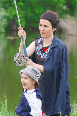 Mother and son have catch the fish photo