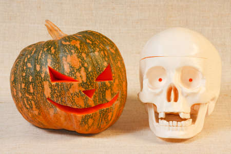 The cheerful halloween pumpkin  and skull from canvas background Stock Photo - 9906704