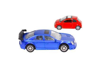 The small blue and red toy cars
