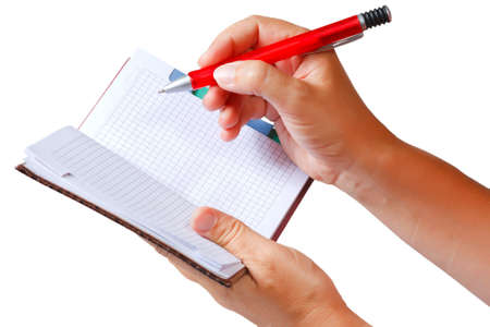 Open notebook for notes in the hands  Stock Photo