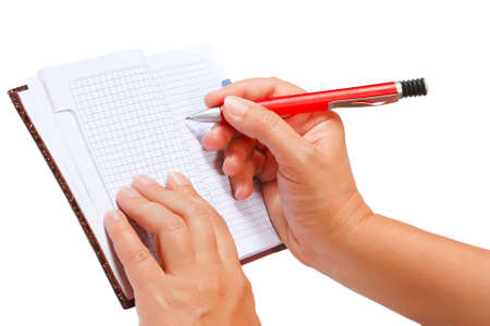 Open notebook for notes in the hands Stock Photo - 10517612