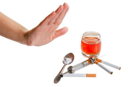 drogadiccion: Rechaza la mano del cigarrillo, alcohol y estupefacientes. Dejar de narc�ticos.