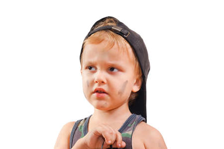 troublemaker: Little cute bully on a white background Stock Photo