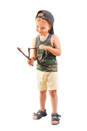 prankster: Little cute bully with a slingshot on a white background