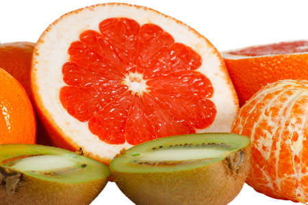 freshest: Fresh pink grapefruit, tangerine and kiwi closeup Stock Photo