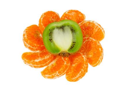 freshest: Ornament of the halves of fresh kiwi and tangerine slices on a white background Stock Photo