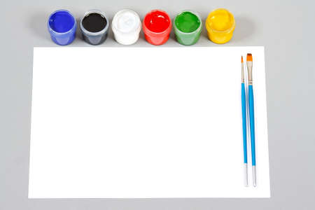 Set of art gouache paints and brushes to paint and paper Stock Photo - 10940202