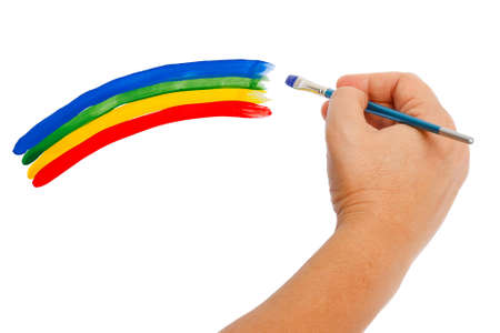 Hand paints a rainbow on a white background