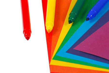 Colored paper and markers for children photo