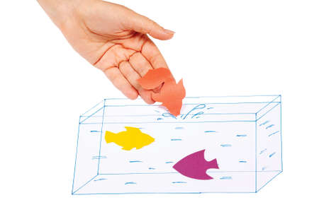 Hand produces a paper fish in the painted aquarium on a white background photo