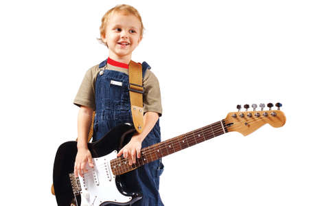 stratocaster: Little boy with electric guitar on white background