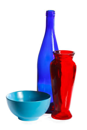 Ceramic cup, glass bottle and vase on a white background Stock Photo - 11392409