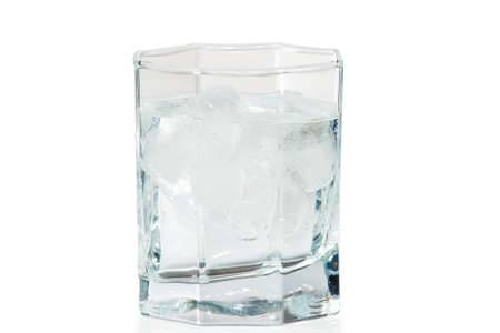 gin: Glass of water and ice on a white background