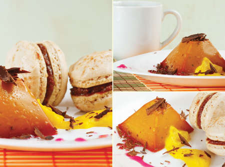 Collage with cup of coffee, macaroons and caramel pudding on a bamboo table cloth  photo