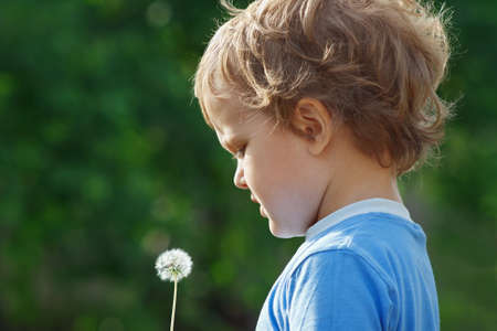 Little cute boy holding a dandelion outdoors photo
