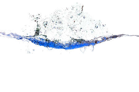 Splash of water of psychedelic blue colors on a white background closeup
