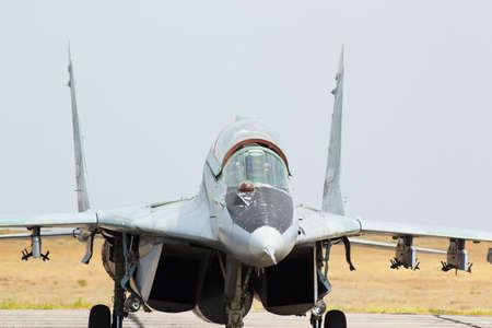 aerodrome: Russian jet fighter MiG-29 at an aerodrome