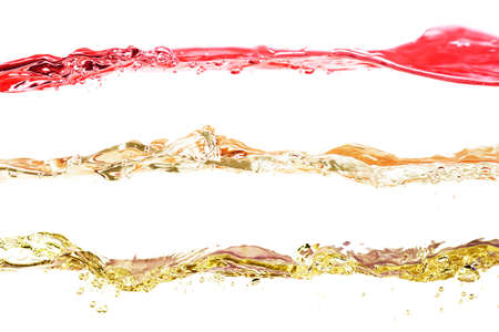 Set of water waves red, yellow and gold colors on a white background