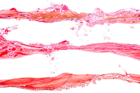 Set of water waves red and pink colors on a white background Reklamní fotografie
