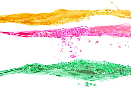Set of water waves yellow, red and green colors on a white background Stock Photo - 17322770