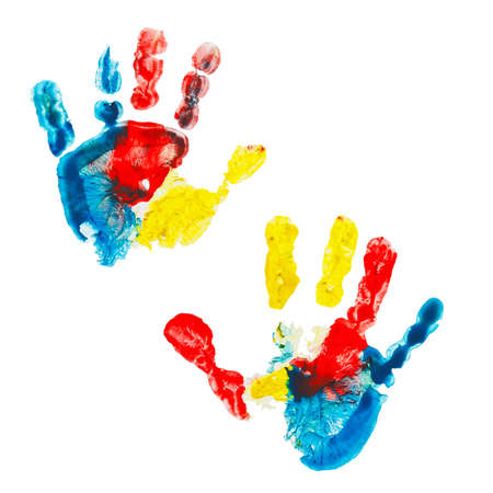 Multicolored prints of children photo